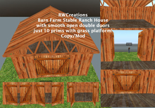 Barn Farm Stable Ranch House- smooth open double doors BX