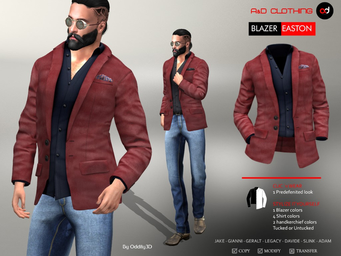 A&D Clothing - Blazer -Easton- Burgundy