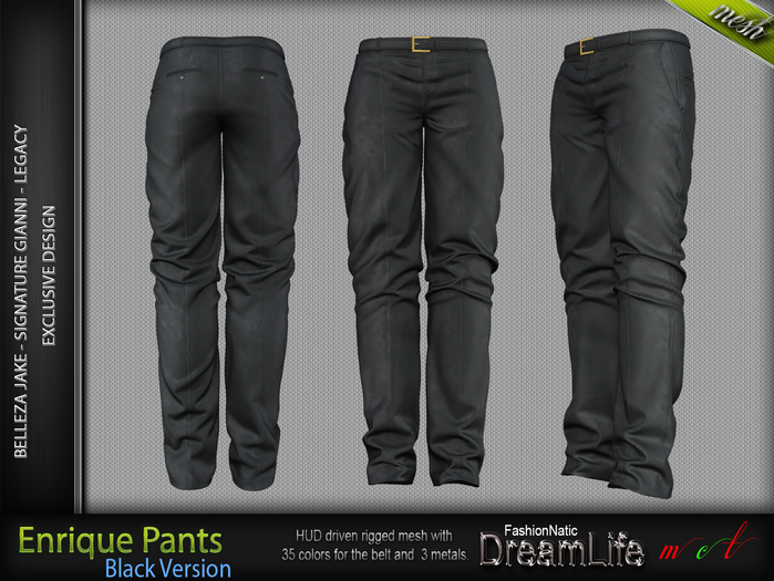 ENRIQUE MALE PANTS BLACK SINGLE COLOR, MESH - SIGNATURE GIANNI, LEGACY, BELLEZA JAKE - FashionNatic