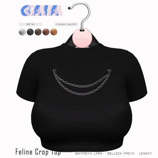 Gaia - Feline Crop Top BLACK
