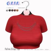 Gaia - Feline Crop Top RED