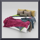 ----White double bed ---
