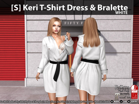 [S] Keri T-Shirt Dress & Bralette White
