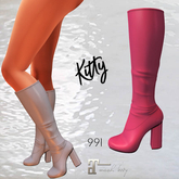 Kitty Block Heel Knee Boot Pink Leather Maitreya LCC