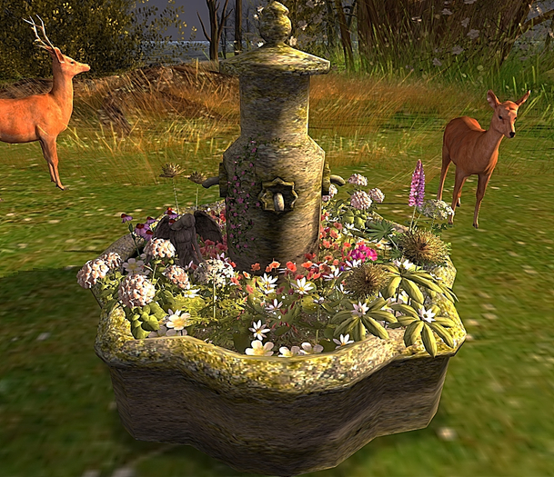 CJ Old Stone Fountain Planter with Light Sensor