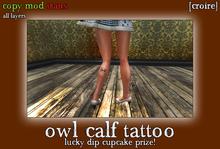 [croire] Owl Calf Tattoo (hipster boho girly nature animal tattoo)