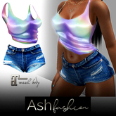 ASH Fashion : Outfit: Holographic top and denim shorts