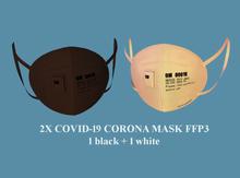 2X COVID-19 CORONA MASKS - 1 black + 1 white unisex