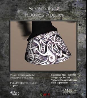 Valkyrie Designed - Hooves Silver Viking Applier Teeglepet and Avatars