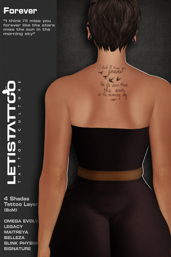 Letis Tattoo :: Forever :: Tattoos Bakes On Mesh & Omega Legacy Maitreya and more Appliers
