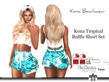 Kona Tropical Ruffle Short Set Blue