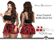 Kona Floral Ruffle Short Set Red