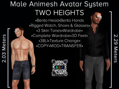 LARGE Male Animesh Bot for AVsitter / NPC - Bento Head & Hands!