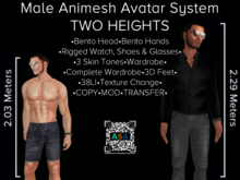 LARGE Male Animesh Bot for AVsitter / NPC - Bento Head & Hands!