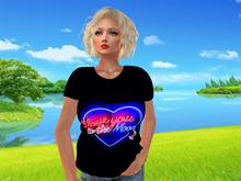 "NEON Glowing ""LOVE TO MOON"" Ladies Regular Style T-Shirt"