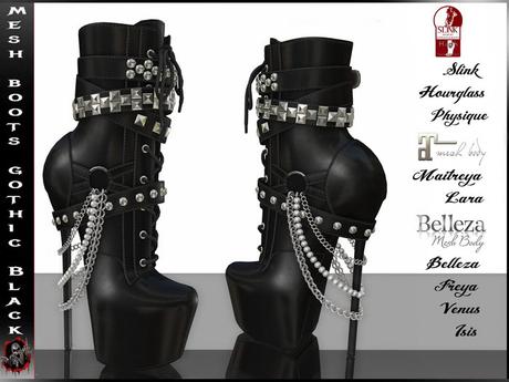 [ Mesh ] High Boots - Gothic Black