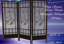 ~MystRie~ Shoji Room Divider - Beautiful Woman - Walnut