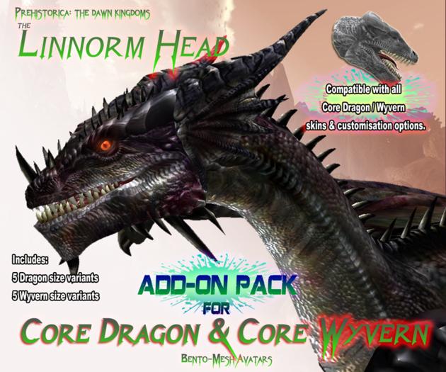 THE LINNORM ~ Add-On Head for PREHISTORICA Dragon / Wyvern Avatar