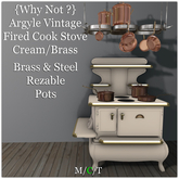 {Why Not ?} Argyle Vintage Fired Cook Stove-Cream/Brass-Boxed