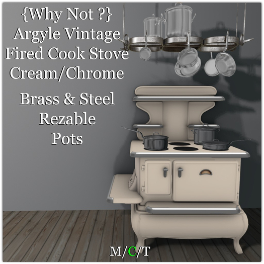 {Why Not ?}Argyle Vintage Fired Cook Stove-Cream/Chrome-Boxed