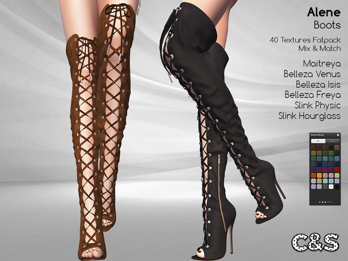 C&S Alene Boots for Maitreya Lara, Slink (P, H), Belleza (V, I, F) . 40 Textures HUD. Mix & Match