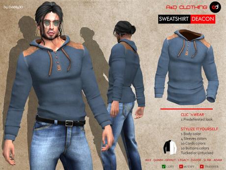 A&D Clothing - Sweatshirt -Deacon- Blue
