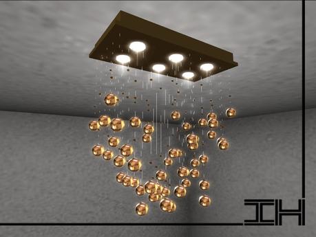 Chandelier - Rain drops - gold