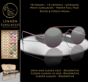 LIMITED PROMOTION 99L$***ArisArisB&W~Lennon SunGlasses-CUSTOM HUD(ADD)