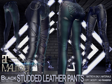 MALified - Studded Black Leather Pants & Bonus Heels: Maitreya Only