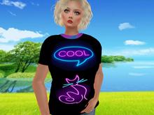 NEON Glowing COOL KITTY Fitmesh, Rig, SL Women`s Classy T-shirt