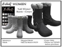 B-UniQ Womens - Tall Winter Boots - Grays