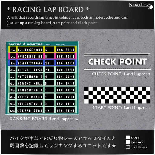 NekoToys - RACING LAP BOARD