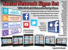 Social Network Signs Set - Select by Menu - Includes Individual Signs & Display Boards - UPDATED with Discord & Twitch