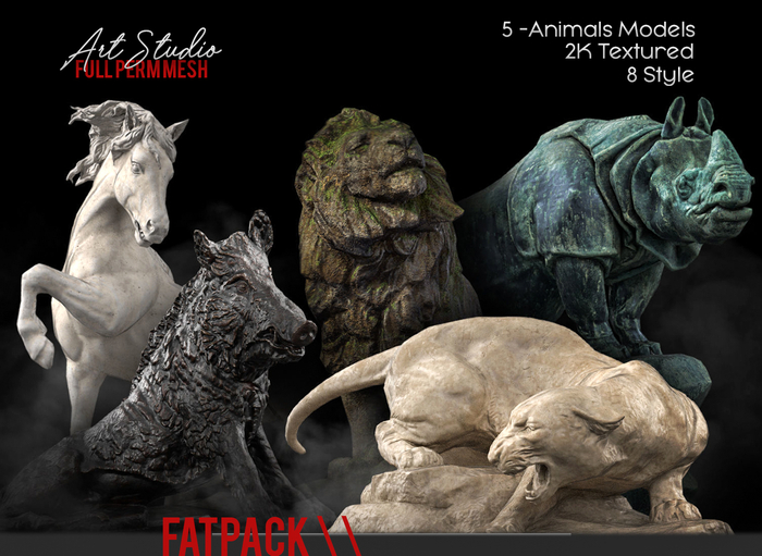 FATPACK Art Studio.FULL PERM \\ Animals Statue Set