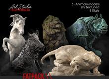 FATPACK Art Studio.FULL PERM \\ Animals Statue Set