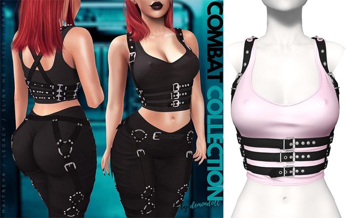 Demon Doll - Combat Top + Harness Baby Pink