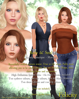 Body & Soul - Complete Avatar - MATURE SERIES - NEW Felicity