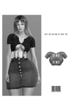 Soft Rib Button Up Crop Top [DEMO] ::Kloss::