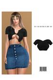 Soft Rib Button Up Crop Top [BLACK] ::Kloss::