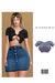 Soft Rib Button Up Crop Top [BLUE] ::Kloss::