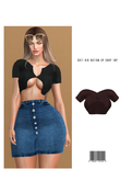 Soft Rib Button Up Crop Top [CACAO] ::Kloss::