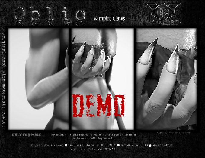 Second Life Marketplace D E M O L Emporio Pl Oblio Vampire Claws Male V1