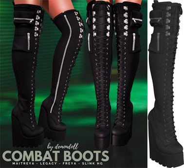 Demon Doll - Combat Boots Onyx