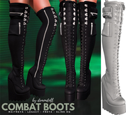 Demon Doll - Combat Boots Light Grey