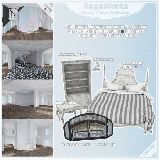 Classic Manor Bed - Pink - (RageWorks)