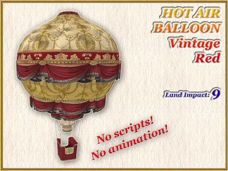 HOT AIR BALLOON Vintage Red (9 LI) (Full perm)