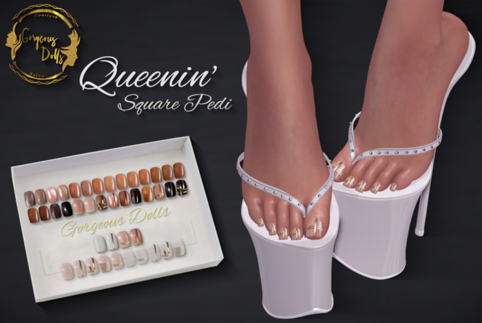 ~GD~Queenin'(Square Pedi) - Legacy Mesh Feet (f)