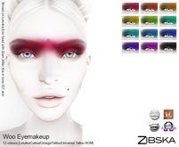 Zibska ~ Woo Eyemakeup in 12 colors with Lelutka, Catwa and Omega appliers, tattoo & universal tattoo BOM layers
