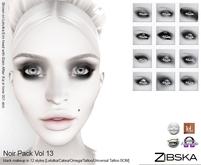 Zibska ~ Noir Pack Vol 13 black eye makeup in 12 styles with Lelutka, Catwa and Omega, tattoo & universal tattoo BOM