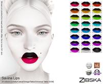 Zibska ~ Savina Lips in 24 colors with Lelutka, Catwa and Omega appliers, tattoo & universal tattoo BOM layers